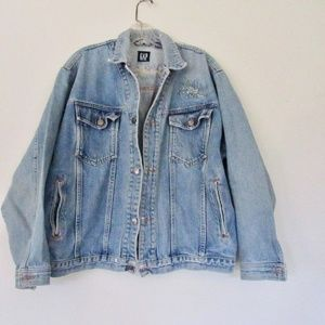 Vintage GAP Denim Jacket SZ Med Embroidery USA